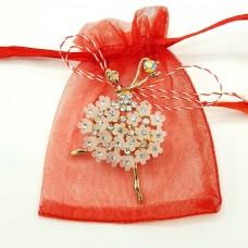 ABGL26-AY07 Martisor brosa Balerina cu flori in saculet
