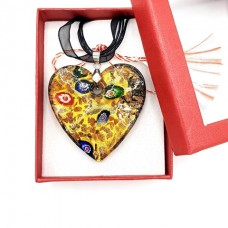 (MMC08-ACGL21) Colier Inima din sticla veritabila de murano