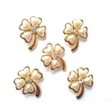 (ABGS21) Brosa trifoi cu perle- set 5 bucati