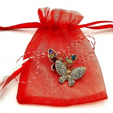 (ABGM10-AY07) Martisor brosa Fluturasi in saculet