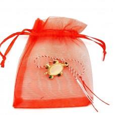 (ABGS36-AY07) Martisor brosa Broscuta Testoasa in saculet