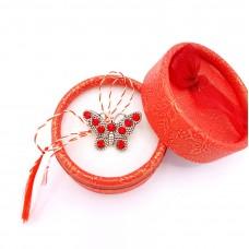 (ABVS17-ACGS01) Martisor brosa Fluturas Red in cutiuta