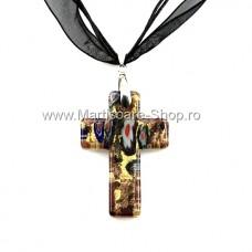 (MMC11) Colier Cruciulita sticla veritabila de murano