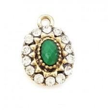 (APS31) Pandant Vintage Stone Green - set 5 bucati