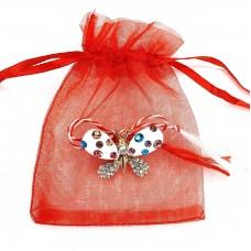 ABGM05 - AY07 Martisor brosa Fluture alb in saculet