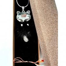 (CB03-ACGL27) Lantisor Pisicuta pufoasa (negru)