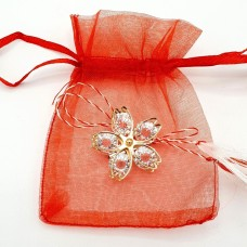 (ABGS43-AY07) Martisor brosa Floare din cristale-in saculet