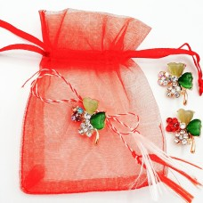 ABGS46-AY07 Martisor brosa Trifoi cristale in saculet