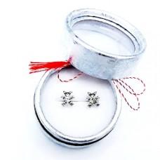 (MC13.3-ACGS03) Martisor Cercei Ursulet argintiu in cutiuta